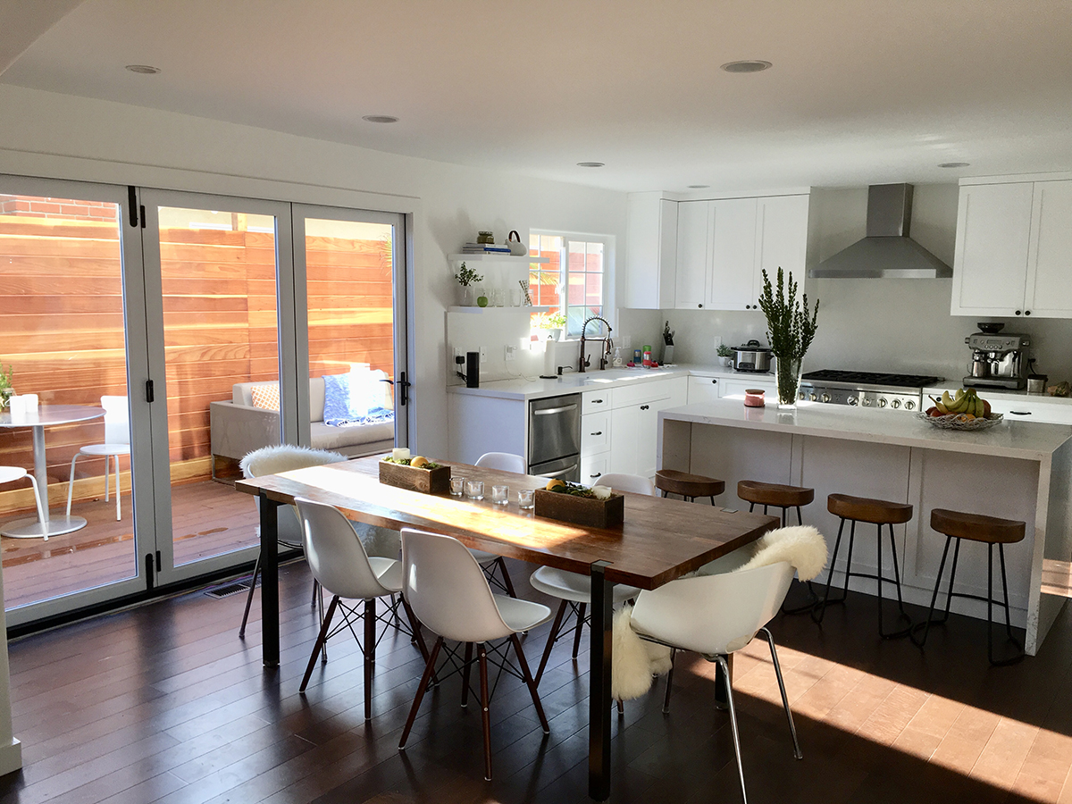 Kitchen Remodel with Quartz Island Waterfall Style in Venice CA