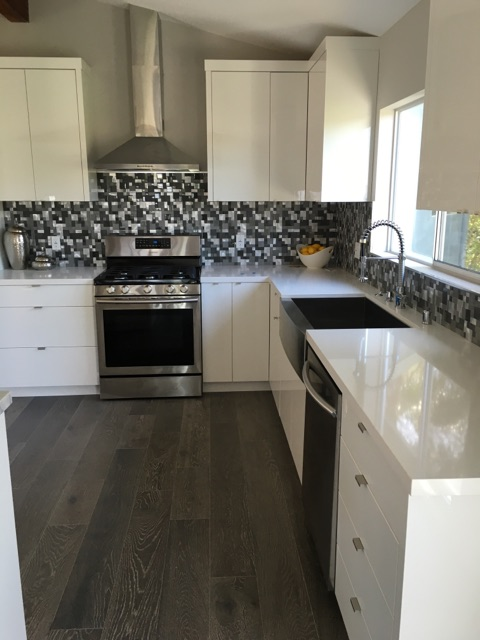 Kitchen Remodel White Lacquer and Mosaic Backsplash Los Angeles CA