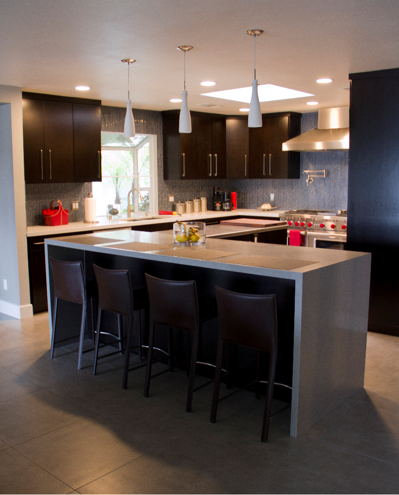 Kitchen Remodel with Espresso Modern and White Quartz Countertop in Woodland Hills CA