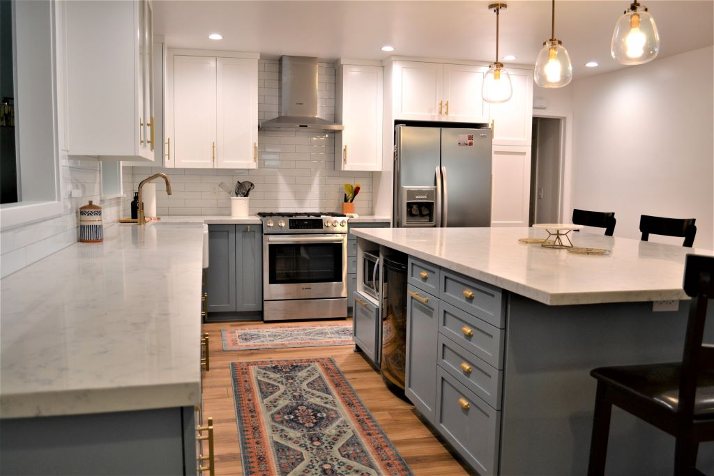 Kitchen Remodel With White Upper And Powder Blue Lower Cabinets In Winnetka Ca Preferred Home Builders Inc